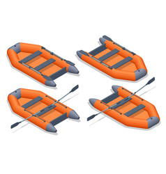 Isometric set icons orange rubber inflatable vector