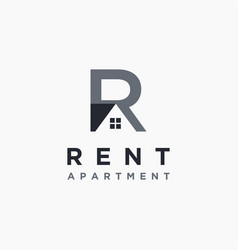 letter r for rent property logo icon template vector image