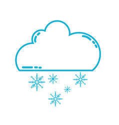 Line cute cloud with snow and cold weather vector
