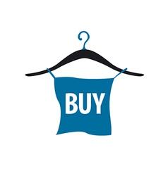 logo hanger with blue button vector image