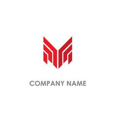 m shape line initial logo vector image