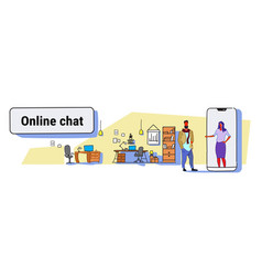 man chatting with elegant woman in smartphone vector image