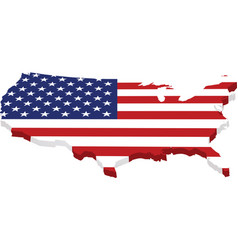 Map usa with flag in 3d vector