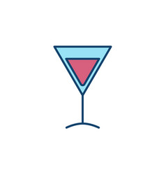 Martini glass colorful icon vector