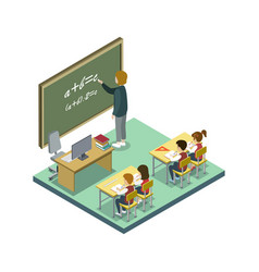 mathematics lesson at school isometric icon vector image