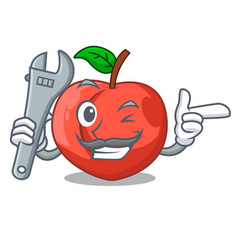 Mechanic fruit of nectarine isolated on mascot vector