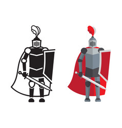 Medieval knight icon and silhouette vector