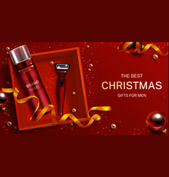 men cosmetics christmas gift banner foam razor vector image