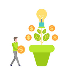 Money tree growth currency man invest vector