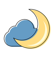 Moon and cloud cartoon vector