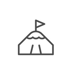 Mountain peak line icon vector