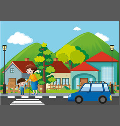 Neighborhood scene with people crossing road vector