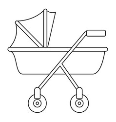 New baby carriage icon outline style vector