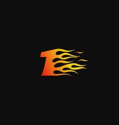 number 1 burning flame logo design template vector image