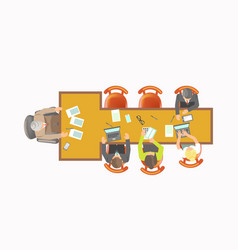 office workers sit at t-shape table isolated vector image