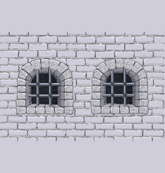 Old brick wall with barred windows hand drawn vector
