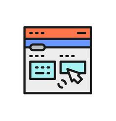 Online translation site flat color line icon vector