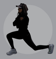 painted woman in black sportswear doing exercise vector image
