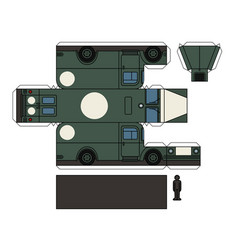 Paper model of an old military ambulance vector