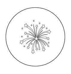 Patriotic fireworks icon in outline style isolated vector