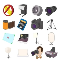 Photography set icons cartoon style vector image