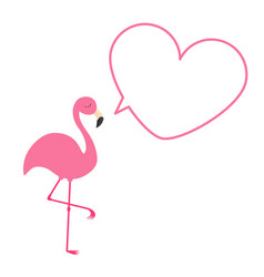 Pink flamingo heart frame talking bubble template vector