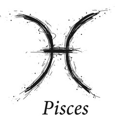 Pisces astrology sign hand drawn horoscope vector