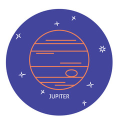 Planet jupiter icon in thin line style vector