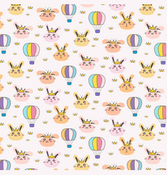 Princess bunny pattern background for kids vector