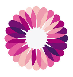 Purple circular frame formed by petals with white vector