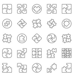 puzzle outline icons set jigsaw puzzles vector image