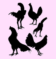 roosters gesture silhouette 08 vector image