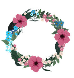 round floral frame wreath with different flowers vector image