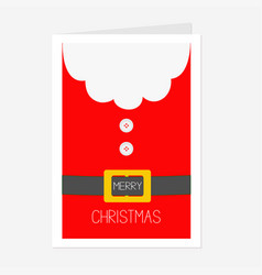 santa claus coat button and yellow belt big beard vector image