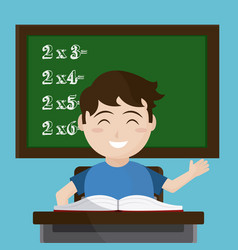 school boy seated at desk vector image