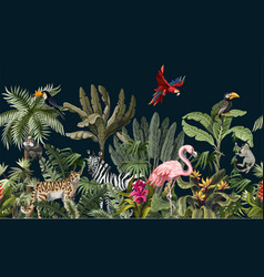 Seamless border with jungle animals flowers and vector
