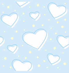 seamless hearts blue pattern vector image