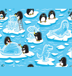 seamless pattern with cartoon penguins create ice vector image