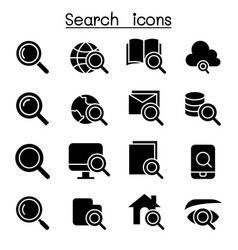 Searching internet icon set vector