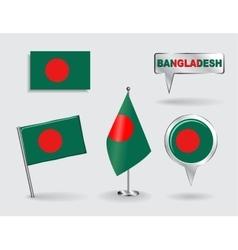 Set bangladeshi pin icon and map pointer flags vector
