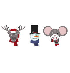 set christmas deer snowman and mouse with vector image