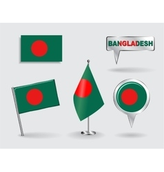 Set of Bangladeshi pin icon and map pointer flags vector image