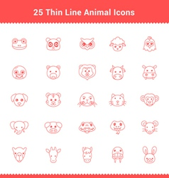 Set of thin line stroke animal icons vector