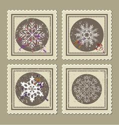 set retro christmas postage stamps vector image