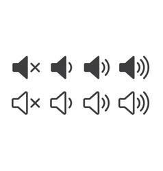 Set sound icons design flat style volume levels vector