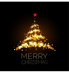 Shiny Gold Christmas tree in black poster vector image