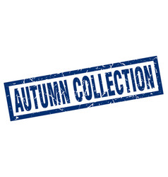 Square grunge blue autumn collection stamp vector
