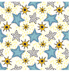 Stars seamless pattern hand drawn background for vector