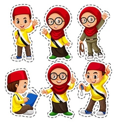 Sticker set with muslim children vector image