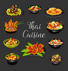 Thai cuisine seafood soup meat salad with veggies vector
